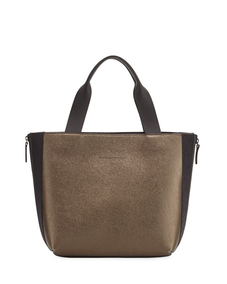 Brunello Cucinelli Metallic Leather Tote Bag