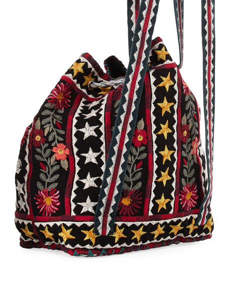 Emilia Embroidered Linen Backpack