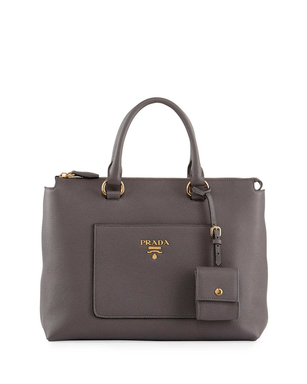 da965a8705f1 Prada Vitello Daino Zip Pebbled Leather Tote Bag