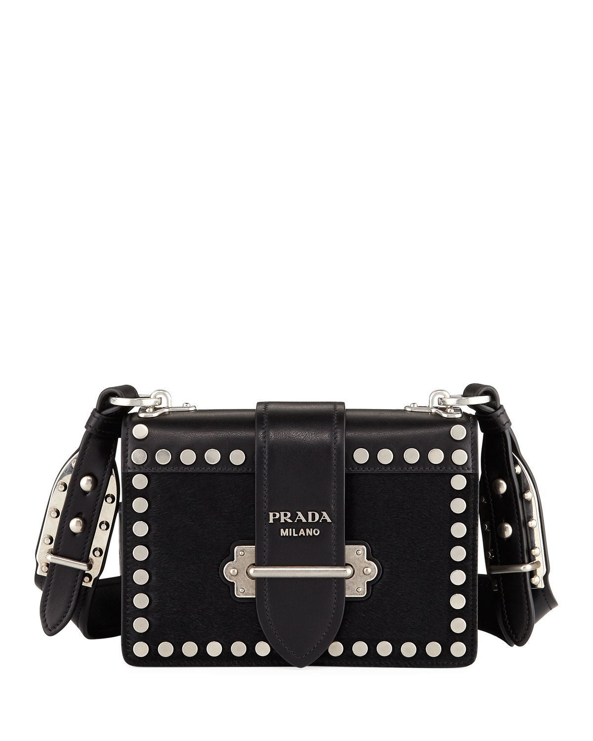 Prada Cahier Small Colorblock Calf Hair Shoulder Bag