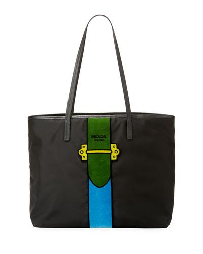 Nylon Trompe L'oeil Velvet Tote Bag