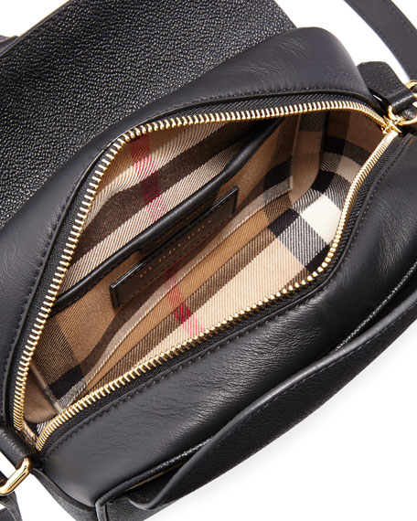 Grain Leather Buckle Crossbody Bag, Black