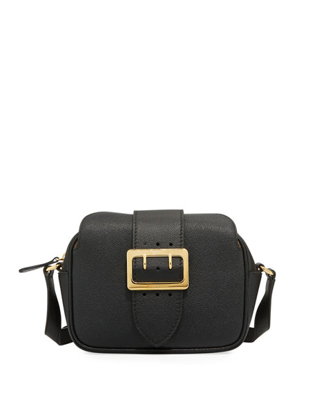 Burberry Grain Leather Buckle Crossbody Bag, Black