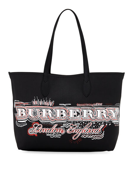 Logo Sketchbook Series Medium Tote Bag, Black Pattern