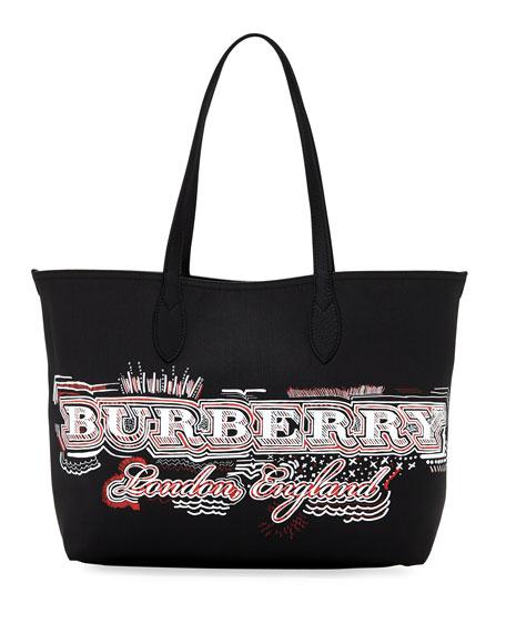 Burberry Logo Sketchbook Series Medium Tote Bag, Black