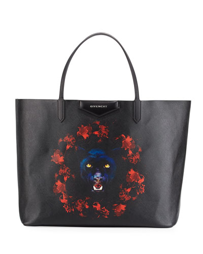 Antigona Large Jaguar-Print Tote Bag