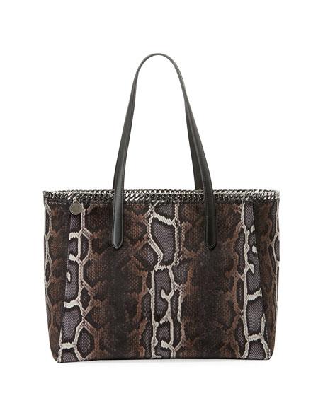 Stella McCartney Falabella Snake-Print Velvet Tote Bag