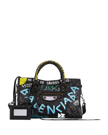Balenciaga Classic City Graffiti Tote Bag, Black (Noir)