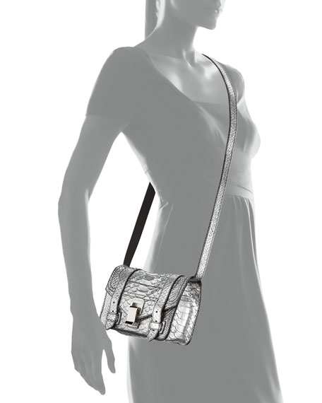 PS1+ Mini Metallic Snake-Print Crossbody Bag