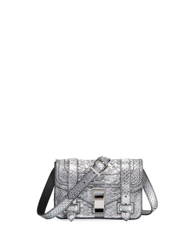 PS1+ Mini Metallic Snake-Print Crossbody Bag
