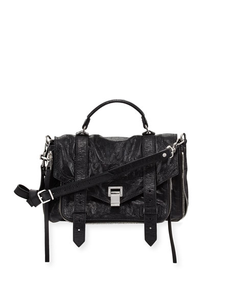 Proenza Schouler PS1+ Medium Leather Satchel Bag, Black