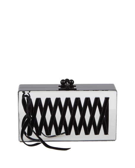 Edie Parker Jean Mirrored Corset Box Clutch Bag,