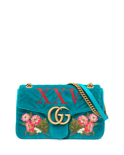 110th Anniversary GG Marmont Small XXV Velvet Shoulder Bag