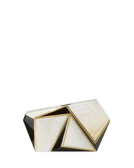 Rafe Azura Asymmetric Minaudiere, White/Black