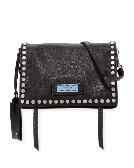 Prada Small Studded Glace Calf Etiquette Shoulder Bag