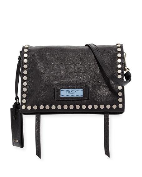 cba3ffcd32a4 Prada Small Studded Glace Calf Etiquette Shoulder Bag In Black ...