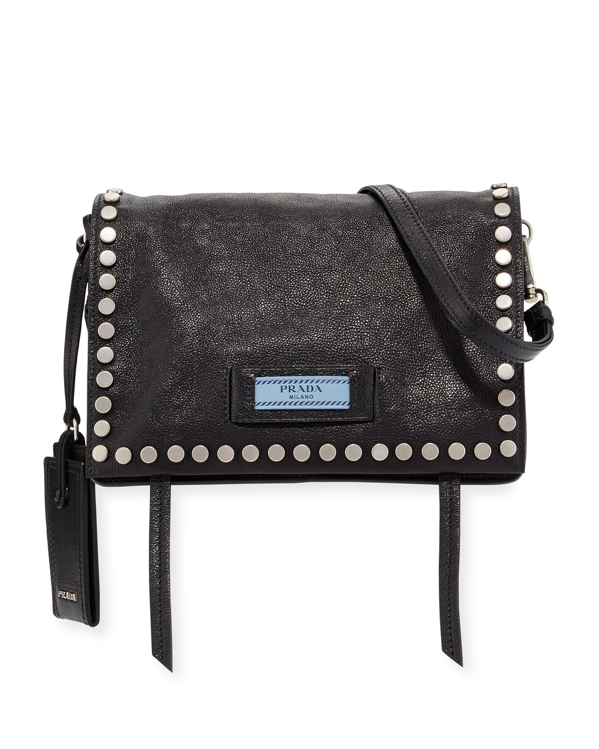 d0ed8483eea2 Prada Small Studded Glace Calf Etiquette Shoulder Bag