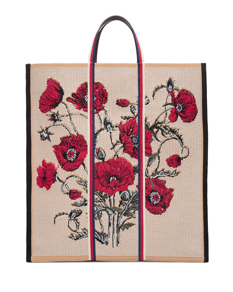 Gucci Floral-Embroidered Woven Tote Bag