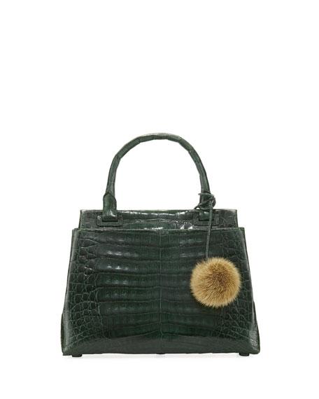 Sophie Small Crocodile Pompom Satchel Bag