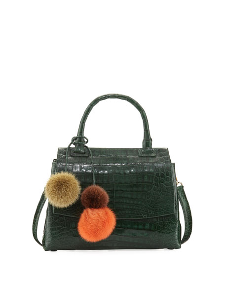 Nancy Gonzalez Sophie Small Crocodile Pompom Satchel Bag