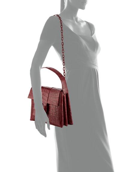 Medium Origami Knot Crocodile Shoulder Bag