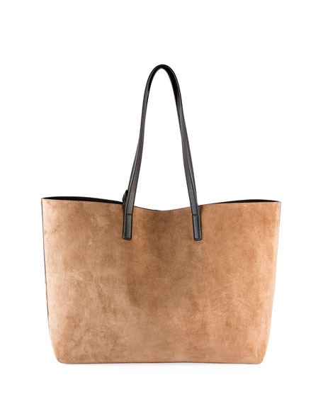 Large East-West Suede Tote Bag w/ Tassel