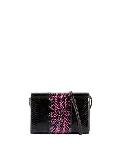 Toy Kate Monogram Two-Tone Snakeskin Wallet on a Strap