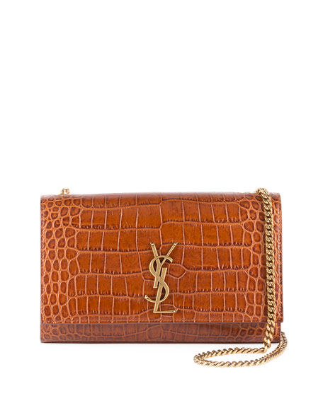 Saint Laurent Kate Medium Croc-Embossed Crossbody Bag