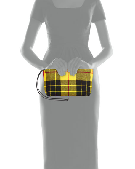 Check-Print Zip Clutch Bag