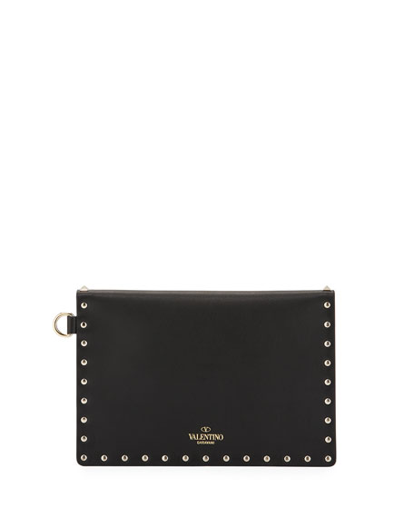 Rockstud Medium Leather Flat Clutch Bag