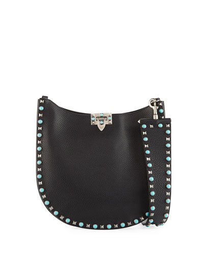 Guitar Rockstud Rolling Noir Small Hobo Bag