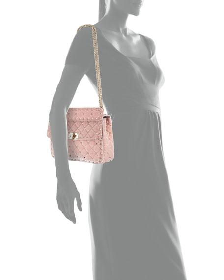 Rockstud Spike MediumQuilted  Velvet Shoulder Bag