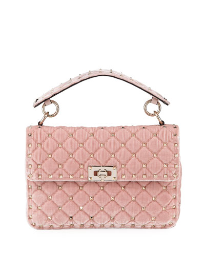 Rockstud Spike MediumQuilted  Velvet Shoulder Bag