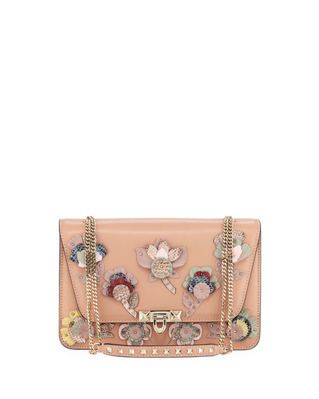 Valentino Garavani Demilune Flowers Vitello Shoulder Bag