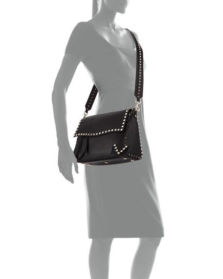 Rockstud Leather Top-Handle Bag