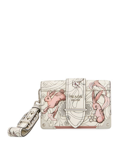 Glace Rabbit-Print Medium Shoulder Bag
