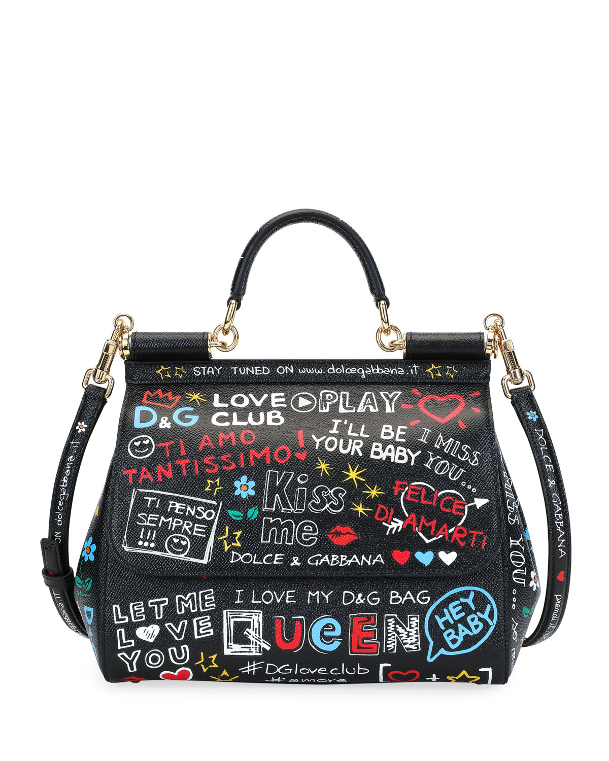 22a90dfa6754 Dolce   Gabbana Sicily St. Dauphine Medium Graffiti Top Handle Bag ...