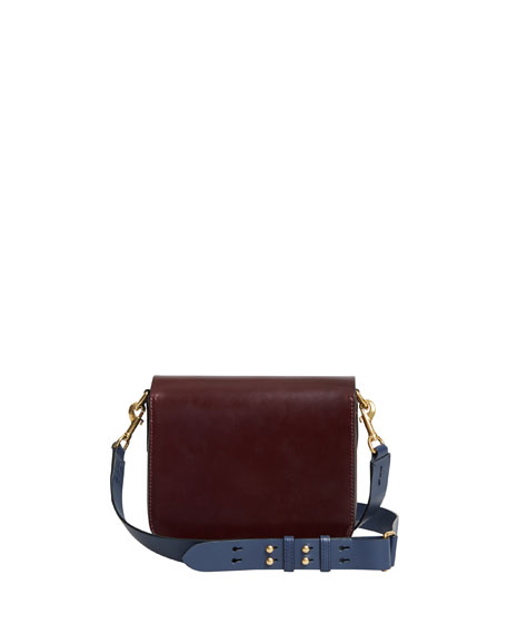 Square Smooth Leather Satchel Bag