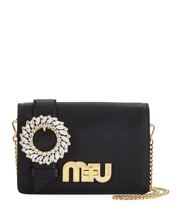 Miu Miu My Miu Small Madras Jeweled Clutch Bag   Neiman Marcus 8acfec6ed8