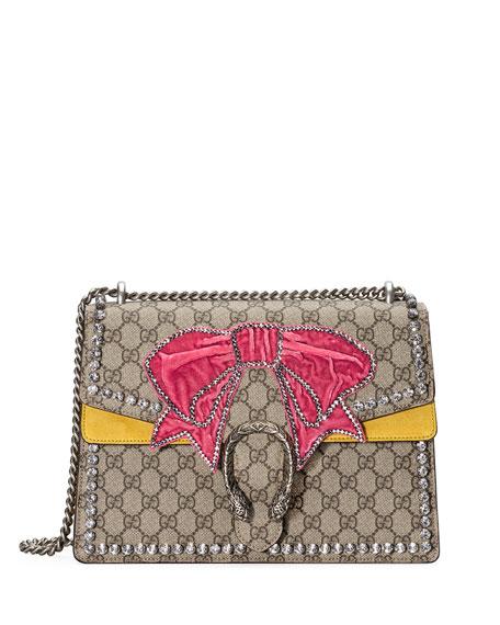 Dionysus Medium GG Supreme Canvas Shoulder Bag with Crystal Bow