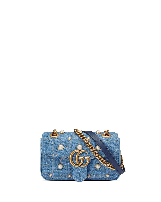 58beb07a80c9 Gucci GG Marmont 2.0 Mini Denim Shoulder Bag