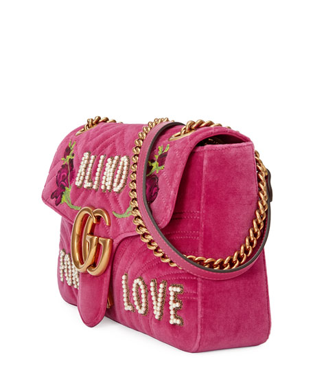 GG Marmont Medium Embroidered Velvet Blind for Love Shoulder Bag