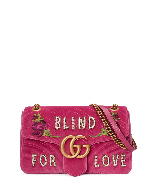 Gucci GG Marmont Medium Embroidered Velvet Blind for Love Shoulder Bag 7BovLu1jT