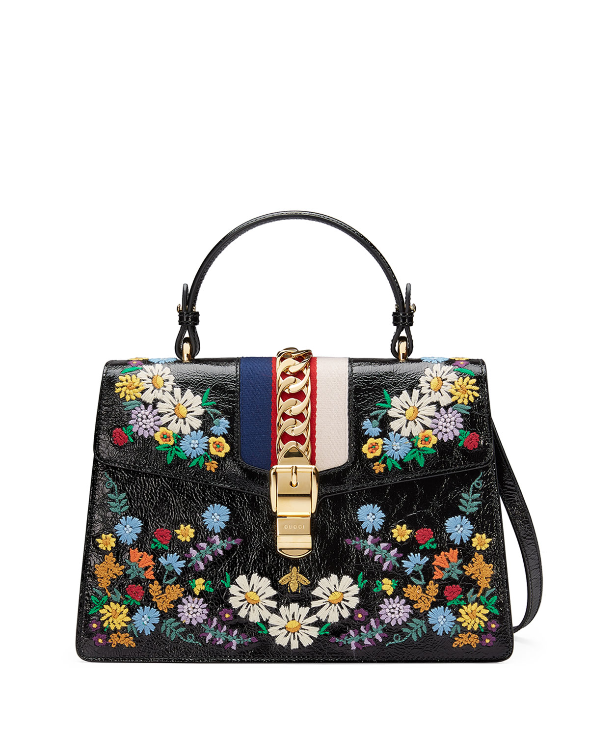 0cdad270f849 Gucci Sylvie Medium Floral Leather Top-Handle Satchel Bag | Neiman ...