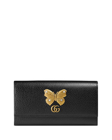 Gucci Linea Farfalla Leather Continental Wallet with Butterfly