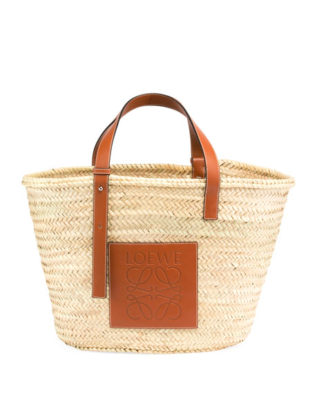 Image 1 of 2: Raffia Basket Tote Bag