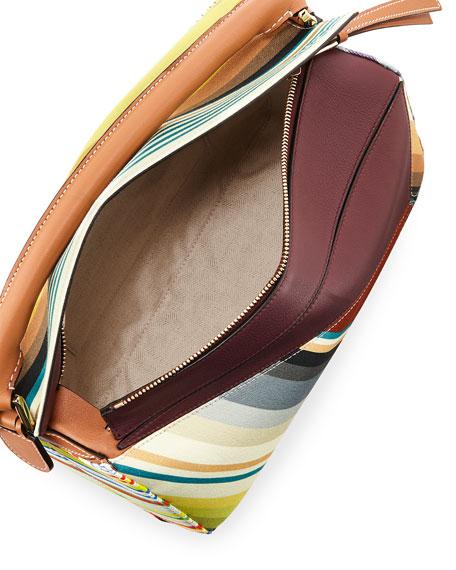 Puzzle Stripes Leather Satchel Bag