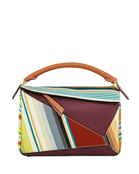 Loewe Puzzle Stripes Leather Satchel Bag