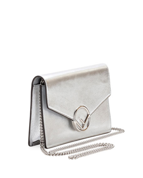 F Logo Mirror Calf Wallet On A Chain, Silver