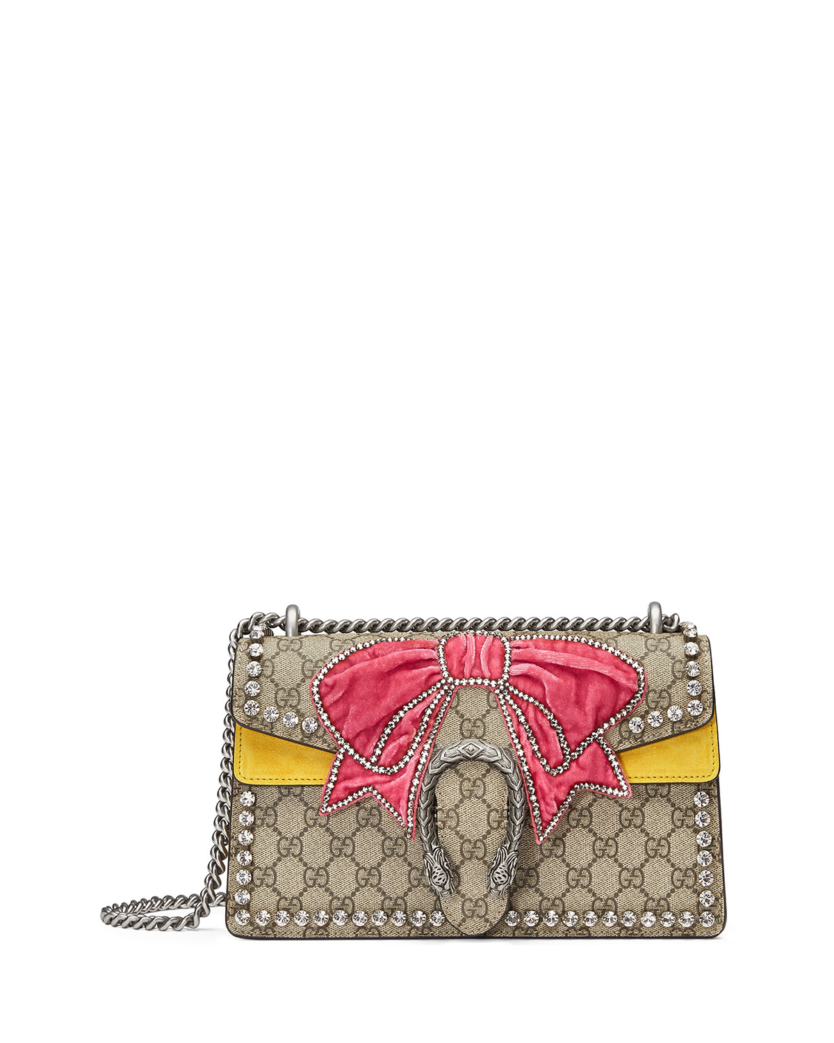 8bc34e812d4a59 Gucci Dionysus Small GG Supreme Shoulder Bag with Bow & Crystals ...